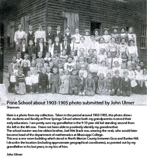 Prine School Marion County Mississippi c1903